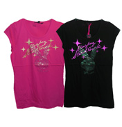 Playboy Foil and Sequin Gather T-Shirt Pink 10